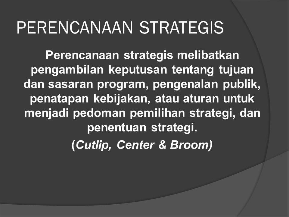 PERENCANAAN STRATEGIS Perencanaan strategis melibatkan pengambilan keputusan tentang tujuan dan sasaran program, pengenalan publik, penatapan kebijaka