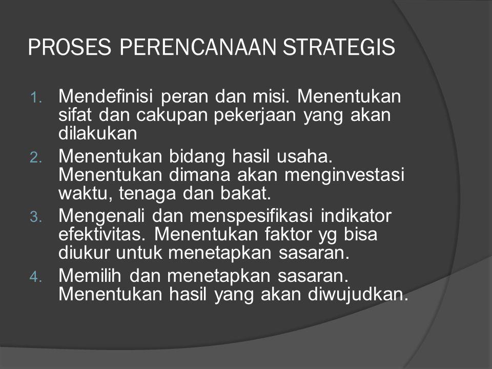 PROSES PERENCANAAN STRATEGIS 1. Mendefinisi peran dan misi. Menentukan sifat dan cakupan pekerjaan yang akan dilakukan 2. Menentukan bidang hasil usah