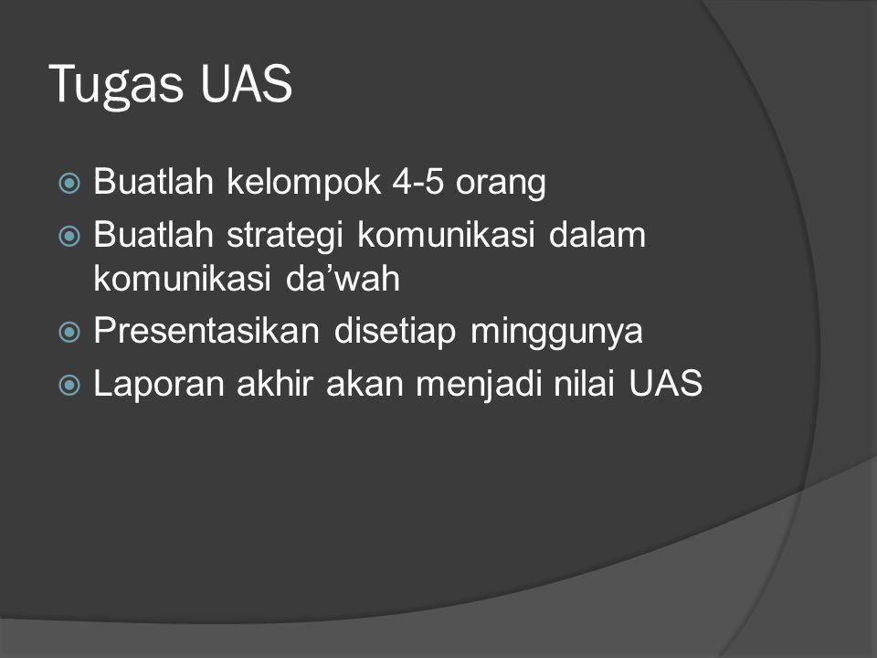 Tugas UAS  Buatlah kelompok 4-5 orang  Buatlah strategi komunikasi dalam komunikasi da'wah  Presentasikan disetiap minggunya  Laporan akhir akan m