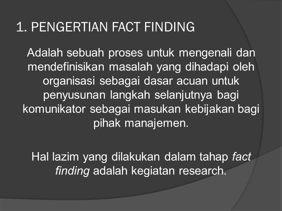 1. PENGERTIAN FACT FINDING Adalah sebuah proses untuk mengenali dan mendefinisikan masalah yang dihadapi oleh organisasi sebagai dasar acuan untuk pen