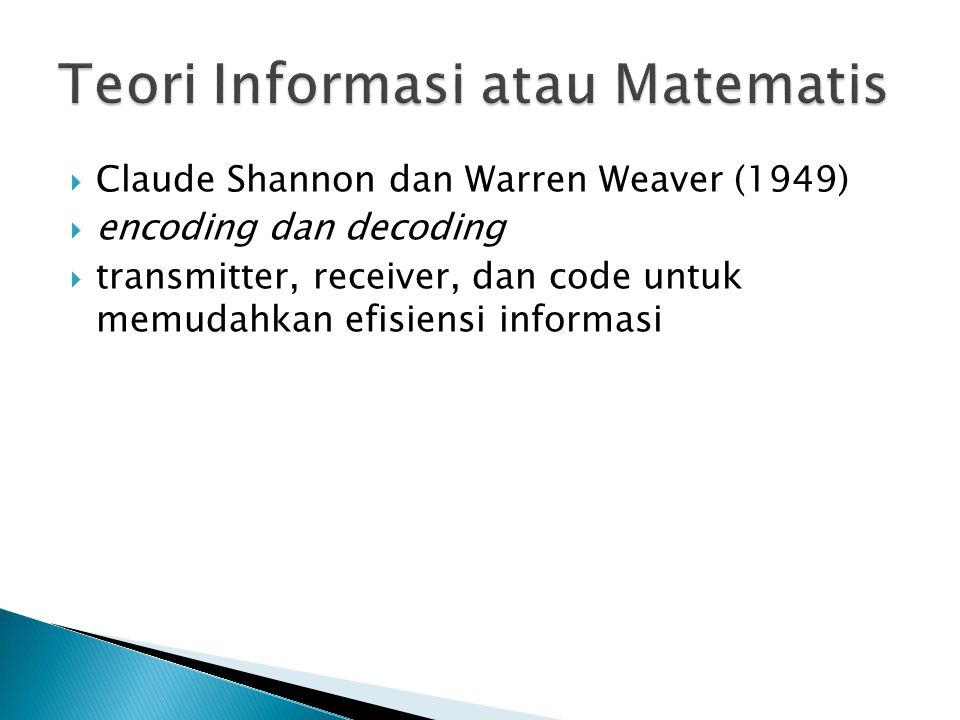  Claude Shannon dan Warren Weaver (1949)  encoding dan decoding  transmitter, receiver, dan code untuk memudahkan efisiensi informasi