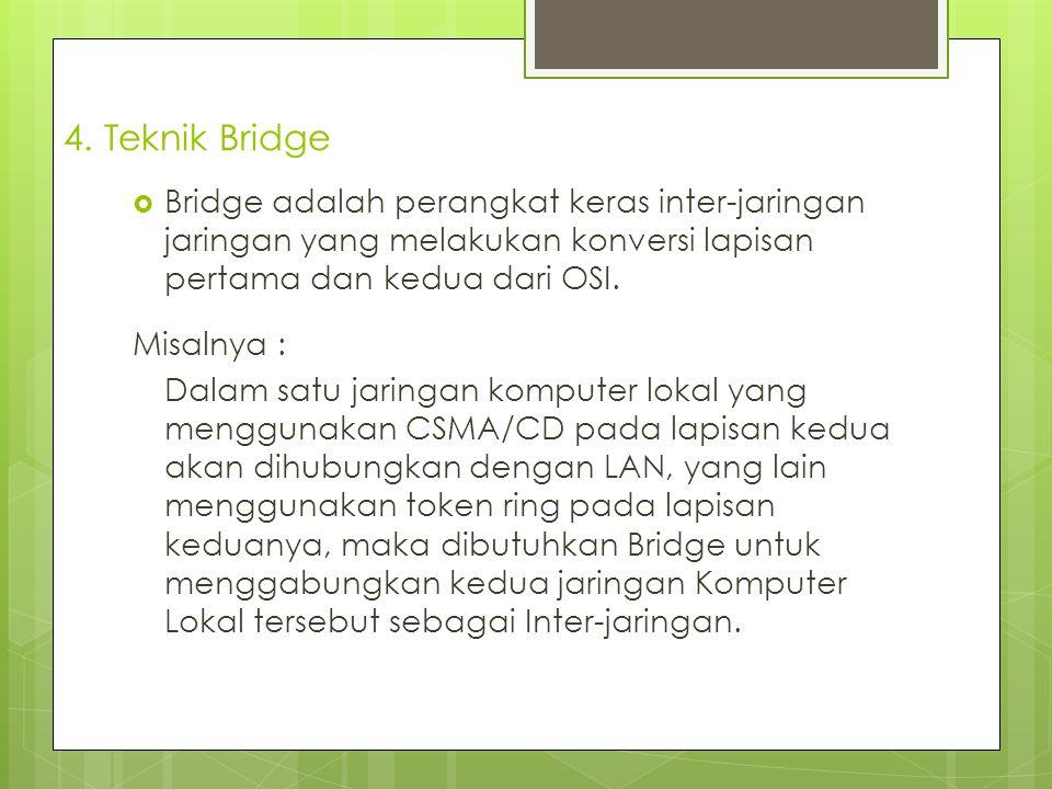 4. Teknik Bridge  Bridge adalah perangkat keras inter-jaringan jaringan yang melakukan konversi lapisan pertama dan kedua dari OSI. Misalnya : Dalam