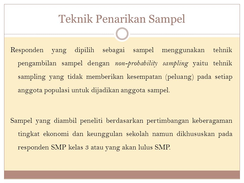 Teknik Penarikan Sampel Responden yang dipilih sebagai sampel menggunakan tehnik pengambilan sampel dengan non-probability sampling yaitu tehnik sampling yang tidak memberikan kesempatan (peluang) pada setiap anggota populasi untuk dijadikan anggota sampel.