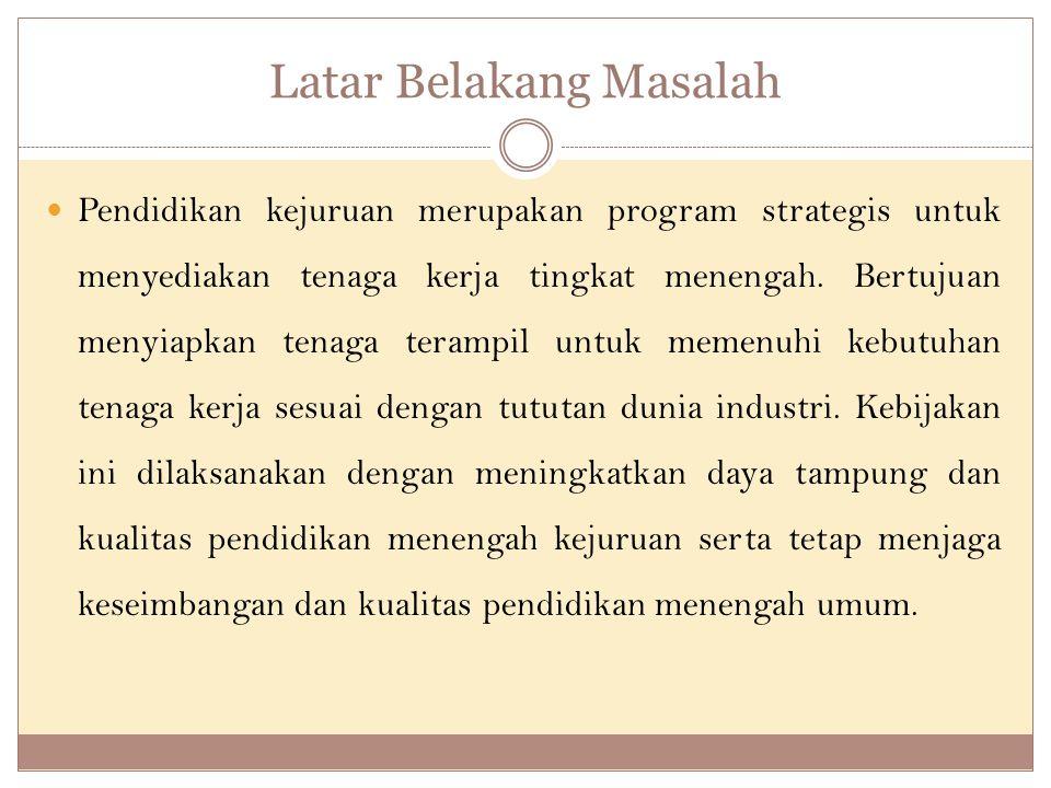 Latar Belakang Masalah Pendidikan kejuruan merupakan program strategis untuk menyediakan tenaga kerja tingkat menengah.