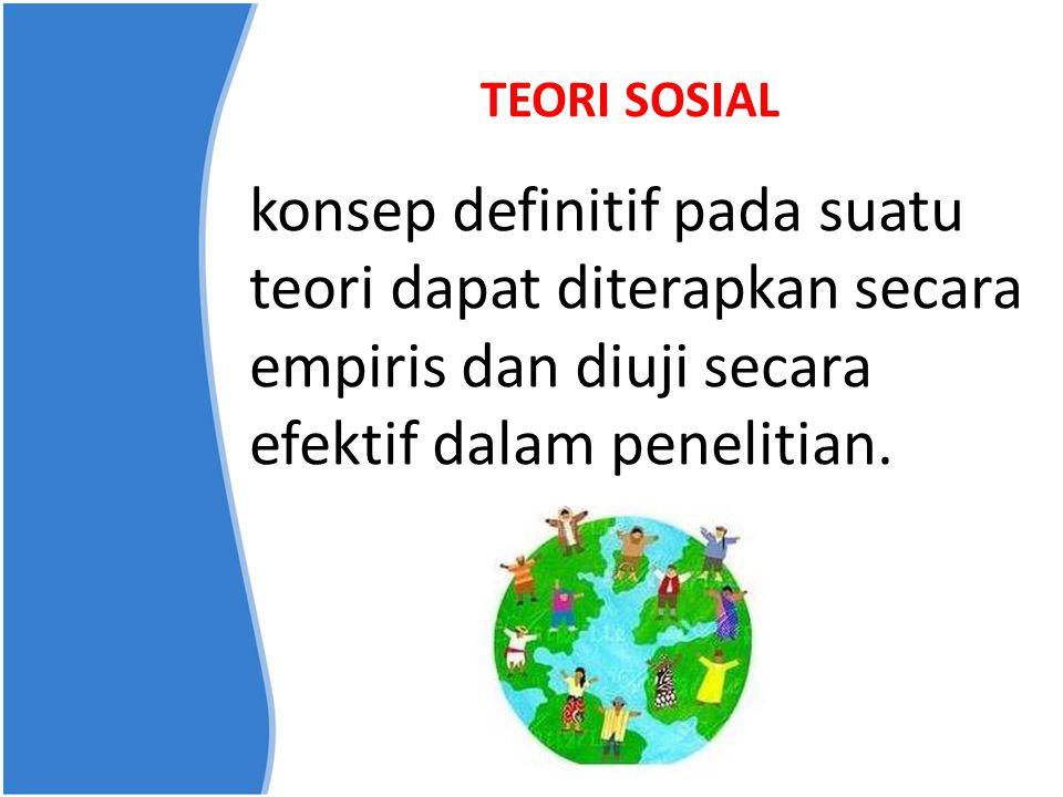 TEORI SOSIAL konsep definitif pada suatu teori dapat diterapkan secara empiris dan diuji secara efektif dalam penelitian.