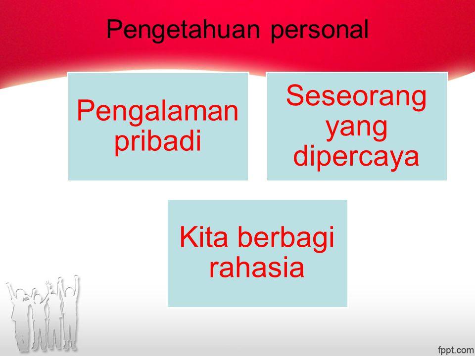 Pengetahuan personal Pengalaman pribadi Seseorang yang dipercaya Kita berbagi rahasia