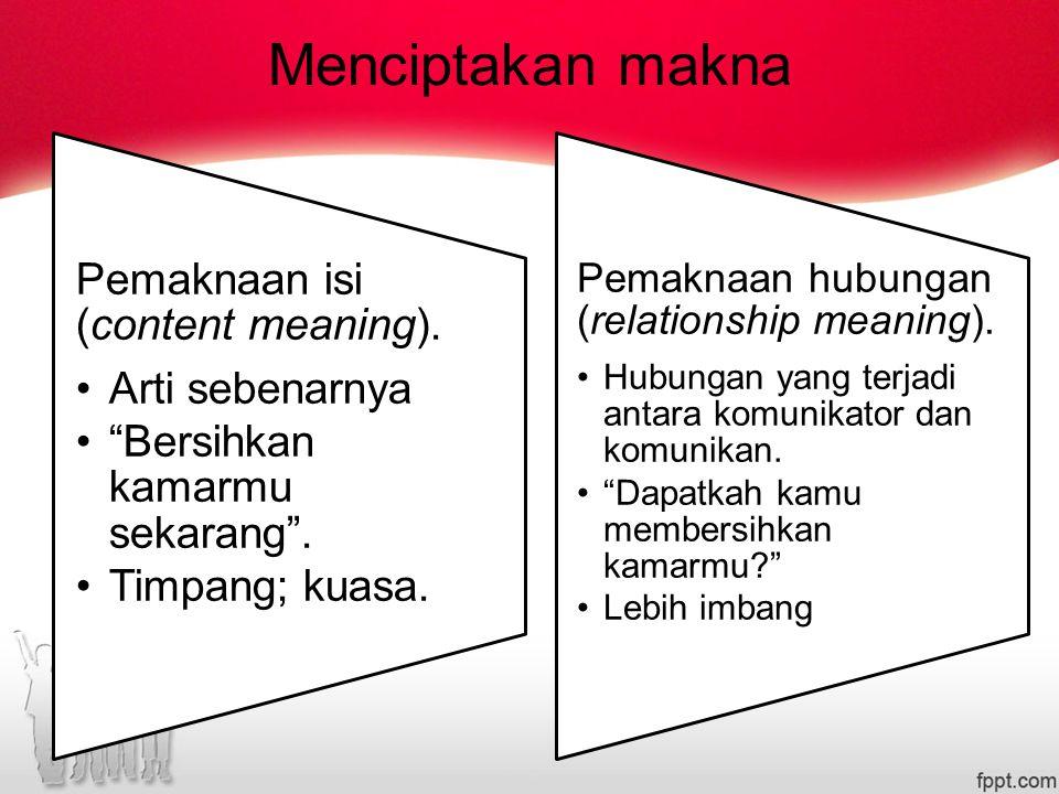 Menciptakan makna Pemaknaan isi (content meaning).