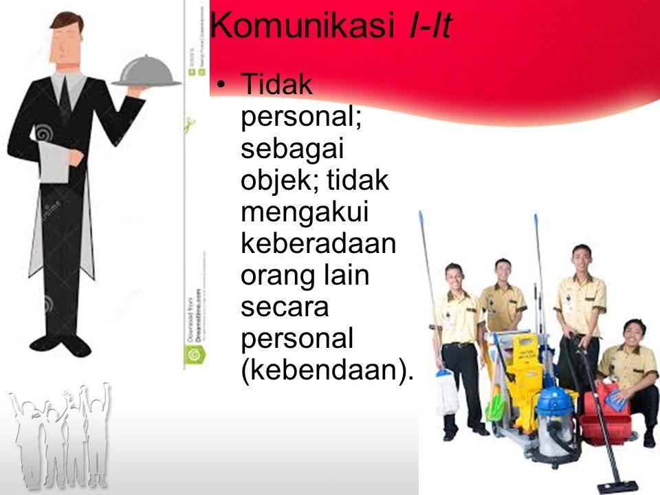 Komunikasi I-It Tidak personal; sebagai objek; tidak mengakui keberadaan orang lain secara personal (kebendaan).