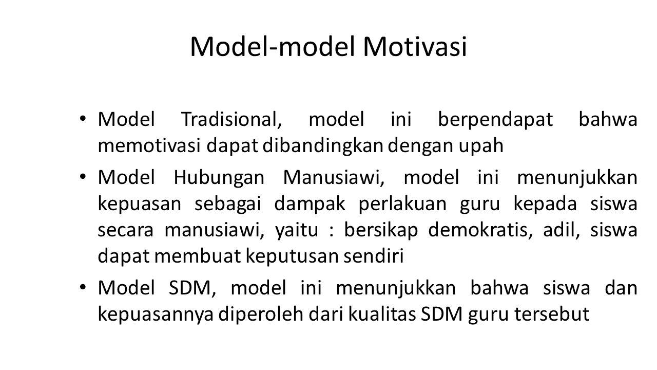 Model-model Motivasi Model Tradisional, model ini berpendapat bahwa memotivasi dapat dibandingkan dengan upah Model Hubungan Manusiawi, model ini menu
