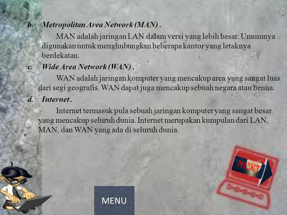 b.Metropolitan Area Network (MAN). MAN adalah jaringan LAN dalam versi yang lebih besar. Umumnya digunakan untuk menghubungkan beberapa kantor yang le