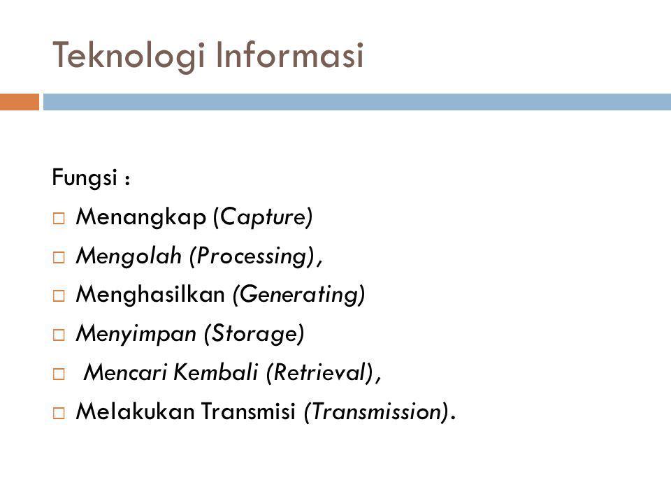 Teknologi Informasi Fungsi :  Menangkap (Capture)  Mengolah (Processing),  Menghasilkan (Generating)  Menyimpan (Storage)  Mencari Kembali (Retri