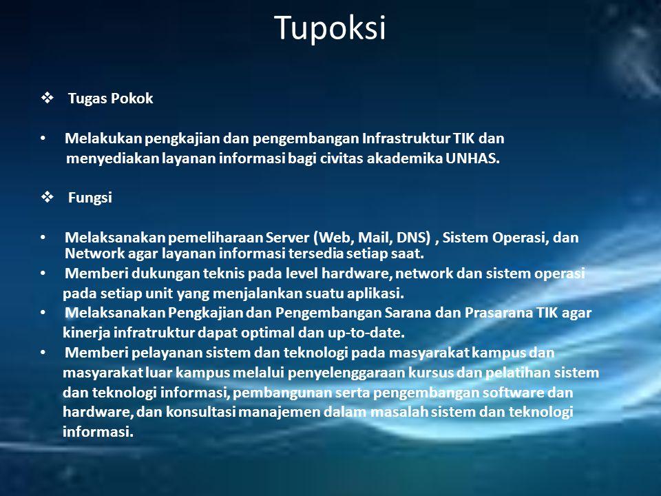 Tupoksi  Tugas Pokok Melakukan pengkajian dan pengembangan Infrastruktur TIK dan menyediakan layanan informasi bagi civitas akademika UNHAS.