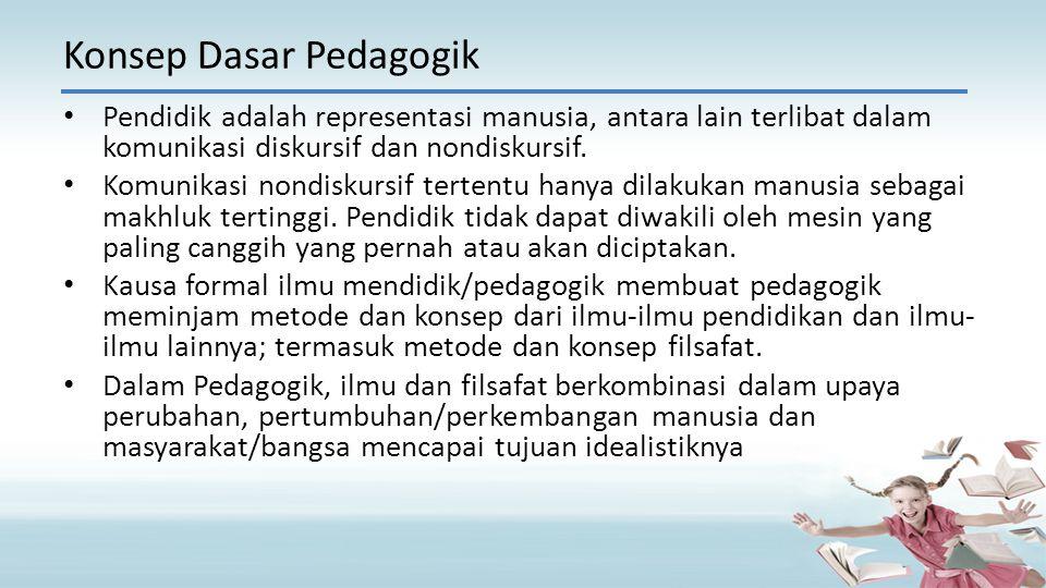 Konsep Dasar Pedagogik Pendidik adalah representasi manusia, antara lain terlibat dalam komunikasi diskursif dan nondiskursif.