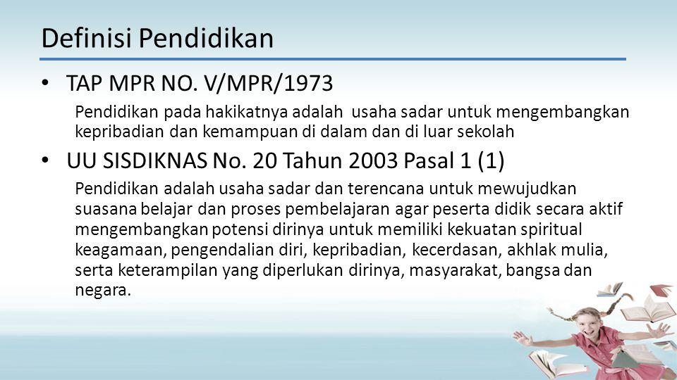TAP MPR NO. V/MPR/1973 Pendidikan pada hakikatnya adalah usaha sadar untuk mengembangkan kepribadian dan kemampuan di dalam dan di luar sekolah UU SIS