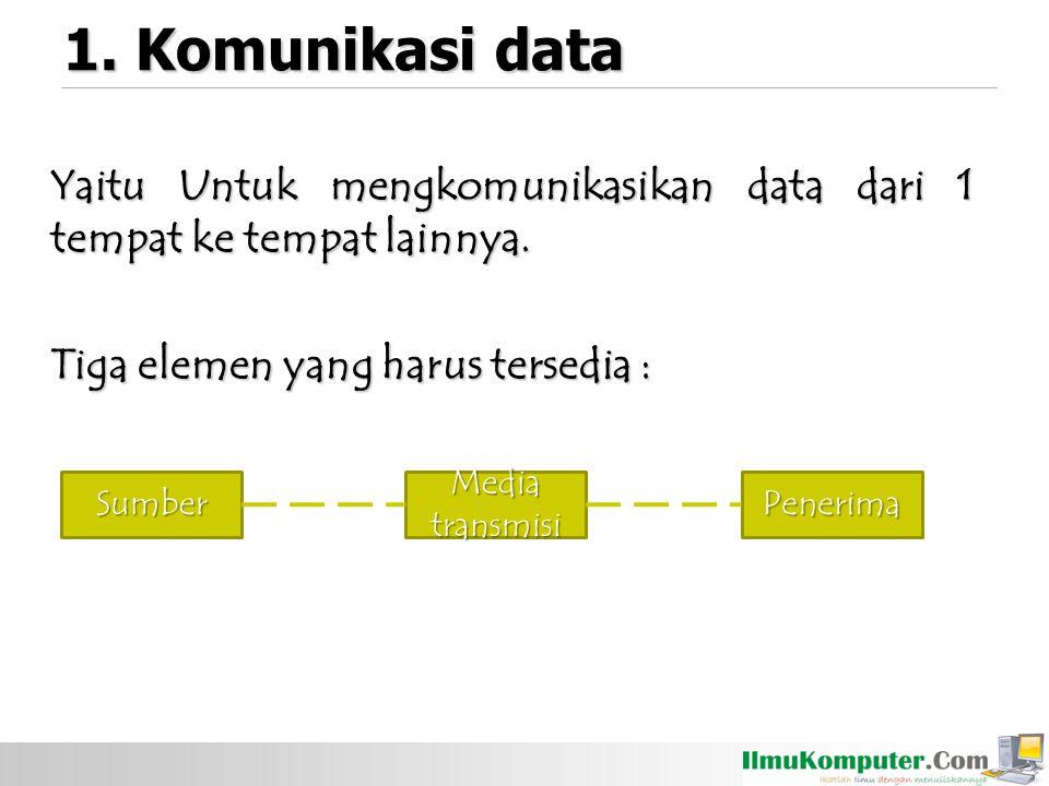 1. Komunikasi data Yaitu Untuk mengkomunikasikan data dari 1 tempat ke tempat lainnya. Tiga elemen yang harus tersedia : SumberPenerima Media transmis