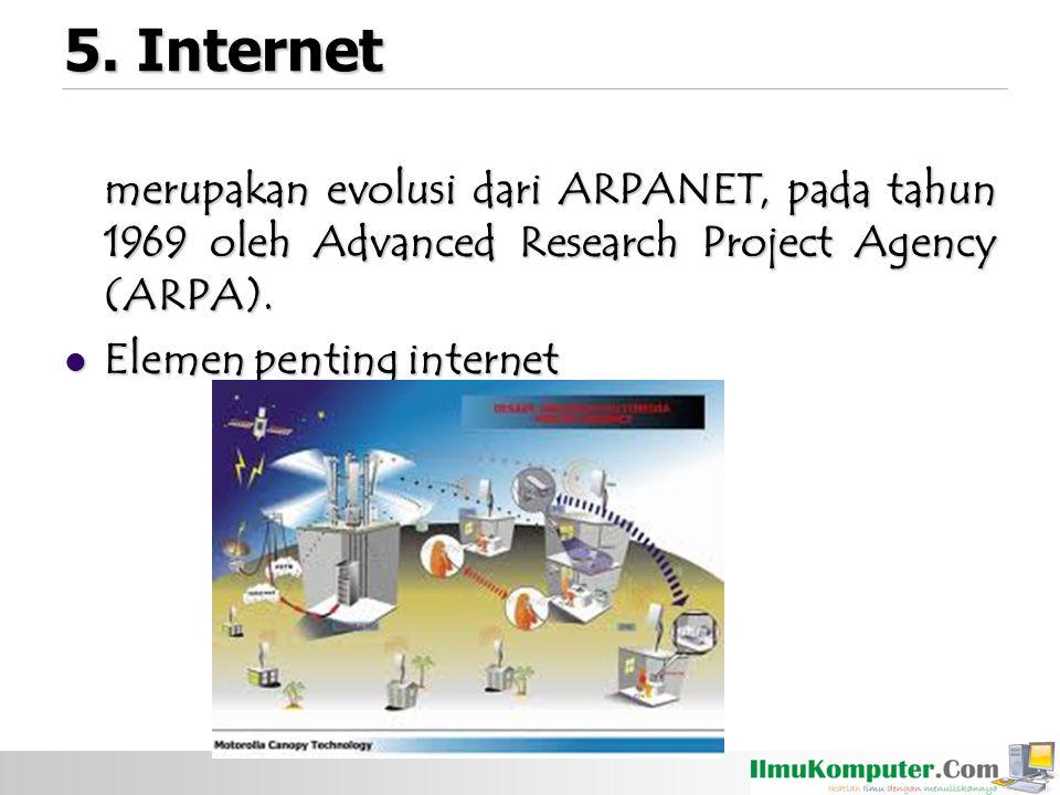 5. Internet merupakan evolusi dari ARPANET, pada tahun 1969 oleh Advanced Research Project Agency (ARPA). Elemen penting internet Elemen penting inter