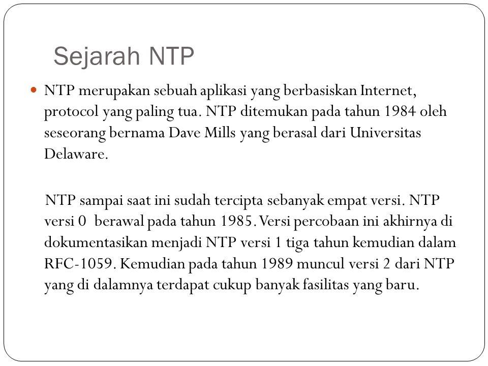 Sejarah NTP NTP merupakan sebuah aplikasi yang berbasiskan Internet, protocol yang paling tua.