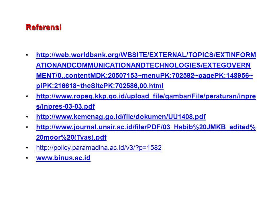 Referensi http://web.worldbank.org/WBSITE/EXTERNAL/TOPICS/EXTINFORM ATIONANDCOMMUNICATIONANDTECHNOLOGIES/EXTEGOVERN MENT/0,,contentMDK:20507153~menuPK