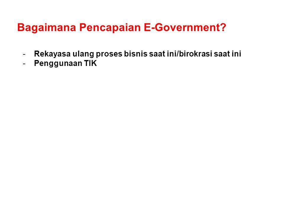 Bagaimana Pencapaian E-Government? -Rekayasa ulang proses bisnis saat ini/birokrasi saat ini -Penggunaan TIK