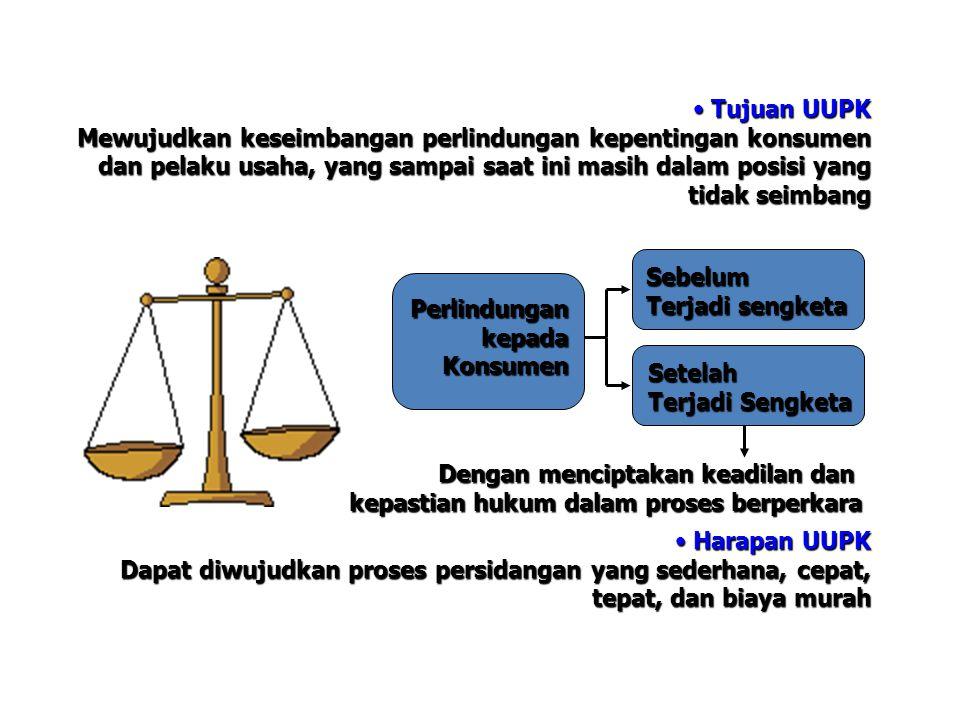 Tujuan UUPK Tujuan UUPK Mewujudkan keseimbangan perlindungan kepentingan konsumen dan pelaku usaha, yang sampai saat ini masih dalam posisi yang tidak seimbang Harapan UUPK Harapan UUPK Dapat diwujudkan proses persidangan yang sederhana, cepat, tepat, dan biaya murah PerlindungankepadaKonsumen Sebelum Terjadi sengketa Setelah Terjadi Sengketa Dengan menciptakan keadilan dan kepastian hukum dalam proses berperkara