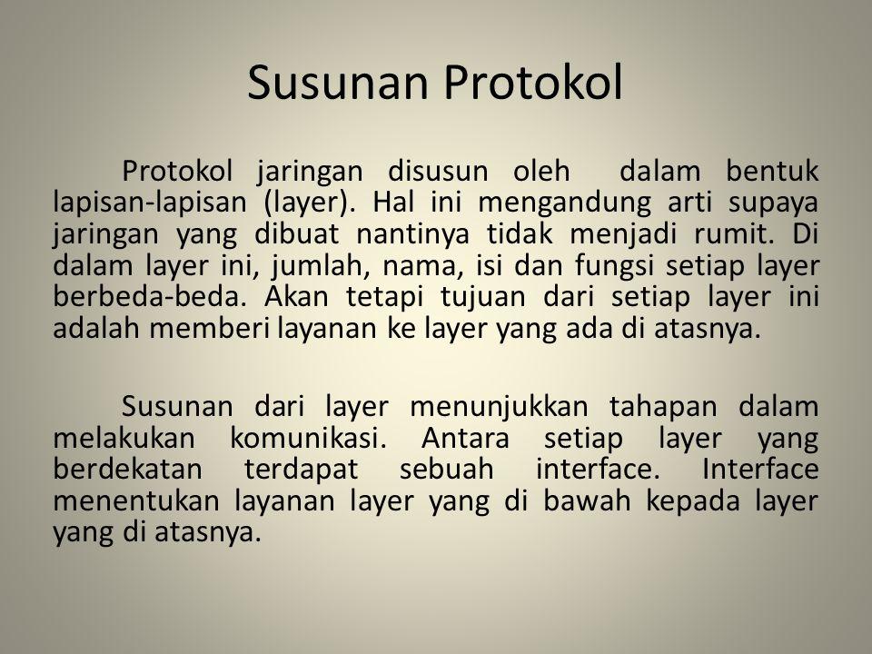 Susunan Protokol Protokol jaringan disusun oleh dalam bentuk lapisan-lapisan (layer). Hal ini mengandung arti supaya jaringan yang dibuat nantinya tid