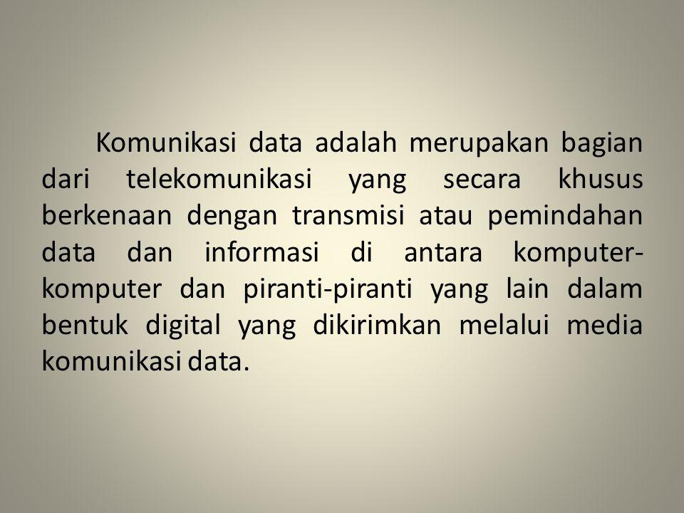 Komponen Komunikasi Data Pengirim, adalah piranti yang mengirimkan data Penerima, adalah piranti yang menerima data Data, adalah informasi yang akan dipindahkan Media pengiriman, adalah media atau saluran yang digunakan untuk mengirimkan data Protokol, adalah aturan-aturan yang berfungsi untuk menyelaraskan hubungan