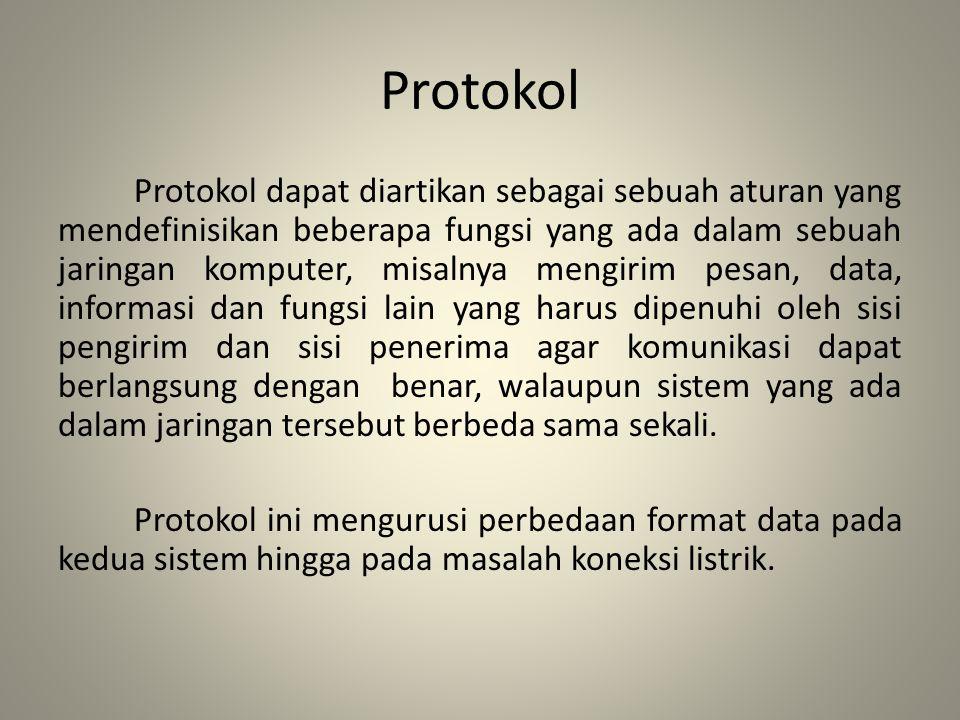 Protokol Protokol dapat diartikan sebagai sebuah aturan yang mendefinisikan beberapa fungsi yang ada dalam sebuah jaringan komputer, misalnya mengirim