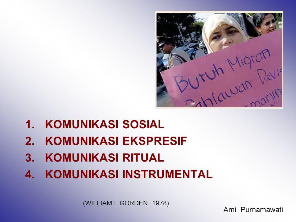 1.KOMUNIKASI SOSIAL 2.KOMUNIKASI EKSPRESIF 3.KOMUNIKASI RITUAL 4.KOMUNIKASI INSTRUMENTAL (WILLIAM I.