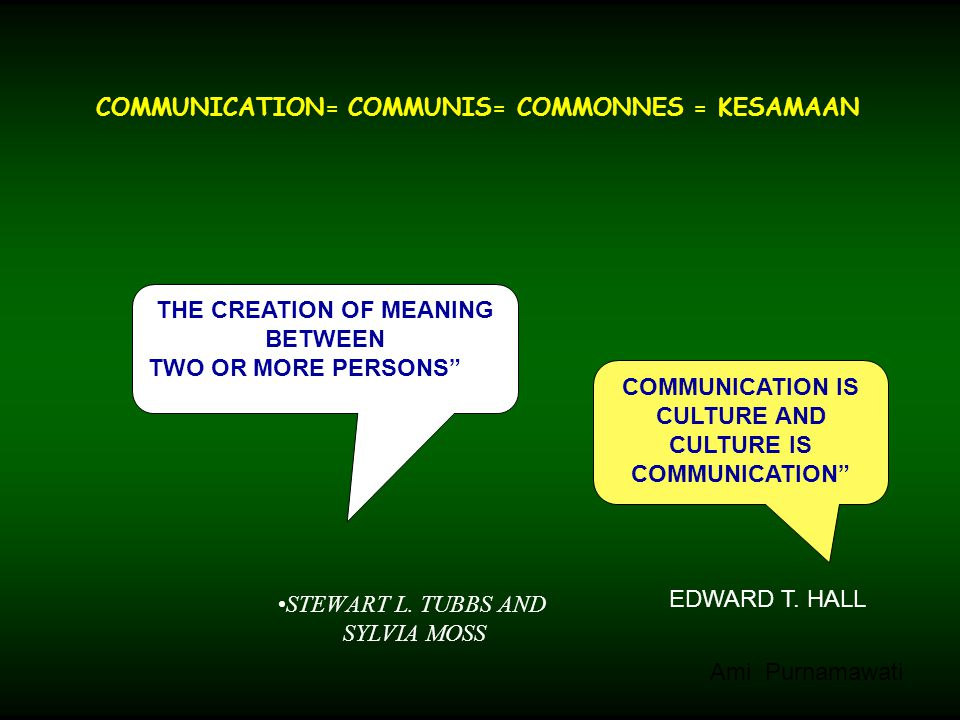"COMMUNICATION= COMMUNIS= COMMONNES = KESAMAAN STEWART L. TUBBS AND SYLVIA MOSS THE CREATION OF MEANING BETWEEN TWO OR MORE PERSONS"" COMMUNICATION IS C"