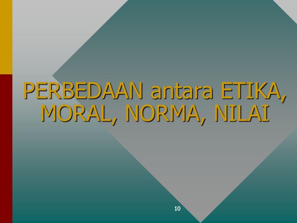 10 PERBEDAAN antara ETIKA, MORAL, NORMA, NILAI