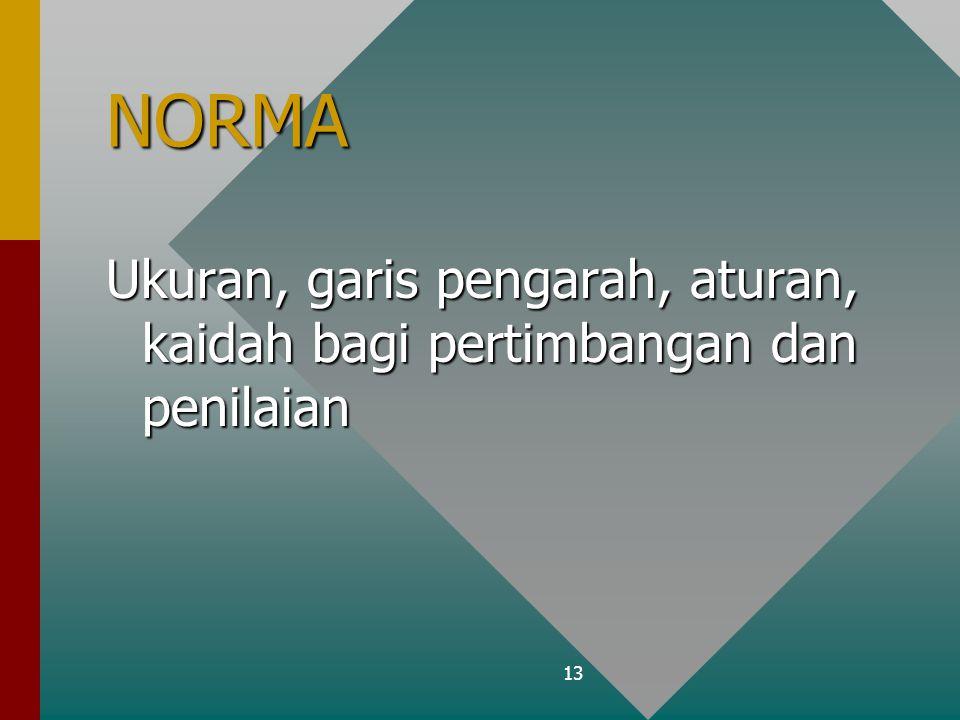13 NORMA Ukuran, garis pengarah, aturan, kaidah bagi pertimbangan dan penilaian