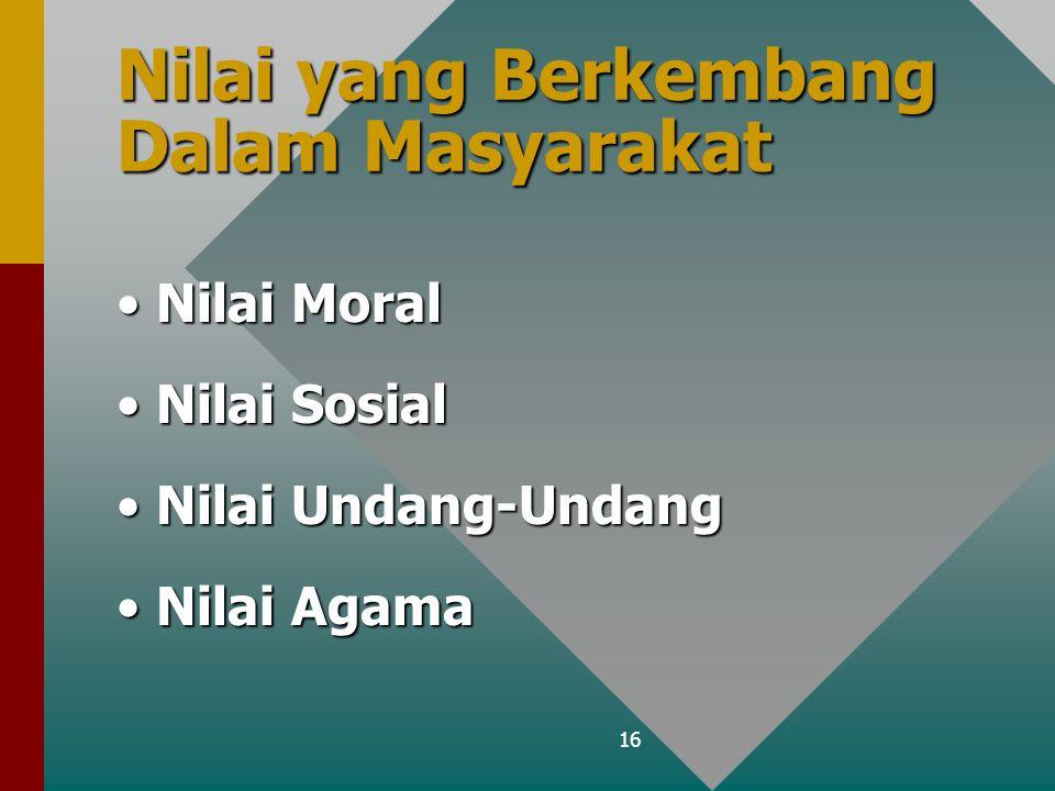 16 Nilai yang Berkembang Dalam Masyarakat Nilai MoralNilai Moral Nilai SosialNilai Sosial Nilai Undang-UndangNilai Undang-Undang Nilai AgamaNilai Agam