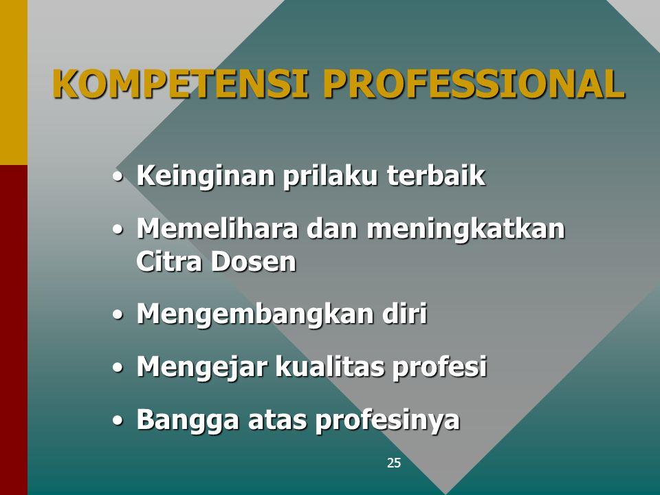 25 KOMPETENSI PROFESSIONAL Keinginan prilaku terbaikKeinginan prilaku terbaik Memelihara dan meningkatkan Citra DosenMemelihara dan meningkatkan Citra Dosen Mengembangkan diriMengembangkan diri Mengejar kualitas profesiMengejar kualitas profesi Bangga atas profesinyaBangga atas profesinya