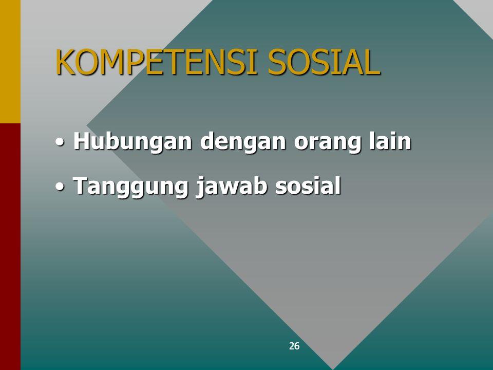 26 KOMPETENSI SOSIAL Hubungan dengan orang lainHubungan dengan orang lain Tanggung jawab sosialTanggung jawab sosial