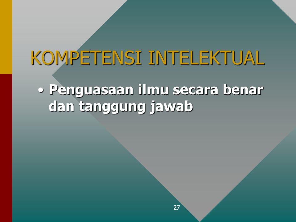 27 KOMPETENSI INTELEKTUAL Penguasaan ilmu secara benar dan tanggung jawabPenguasaan ilmu secara benar dan tanggung jawab
