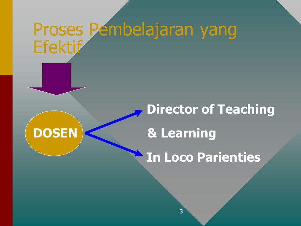 3 Proses Pembelajaran yang Efektif Director of Teaching DOSEN & Learning In Loco Parienties