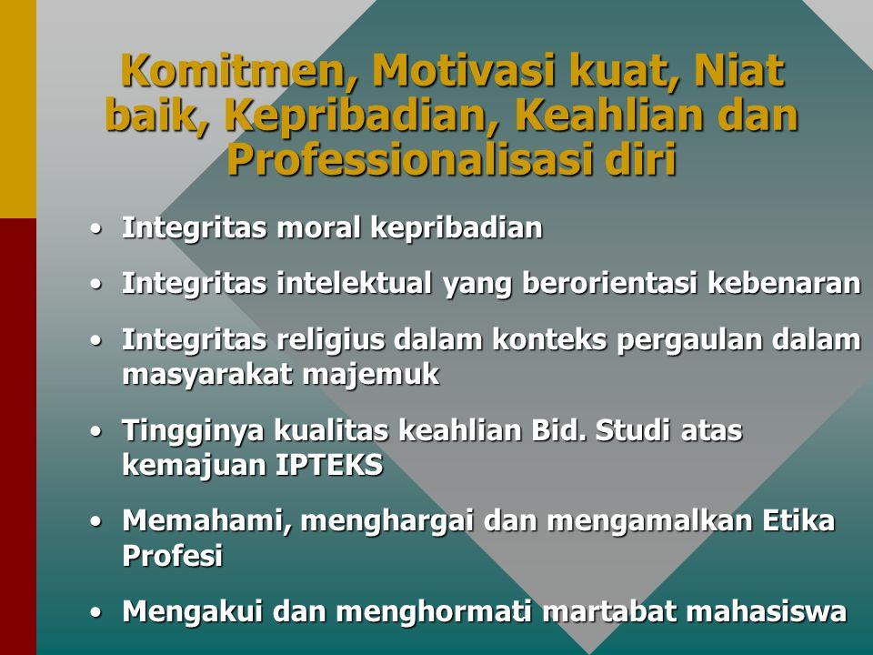 31 Komitmen, Motivasi kuat, Niat baik, Kepribadian, Keahlian dan Professionalisasi diri Integritas moral kepribadianIntegritas moral kepribadian Integritas intelektual yang berorientasi kebenaranIntegritas intelektual yang berorientasi kebenaran Integritas religius dalam konteks pergaulan dalam masyarakat majemukIntegritas religius dalam konteks pergaulan dalam masyarakat majemuk Tingginya kualitas keahlian Bid.