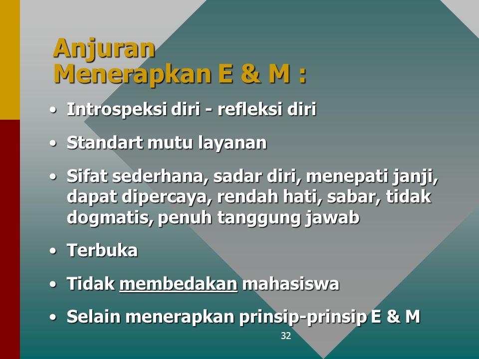 32 Anjuran Menerapkan E & M : Introspeksi diri - refleksi diriIntrospeksi diri - refleksi diri Standart mutu layananStandart mutu layanan Sifat sederh