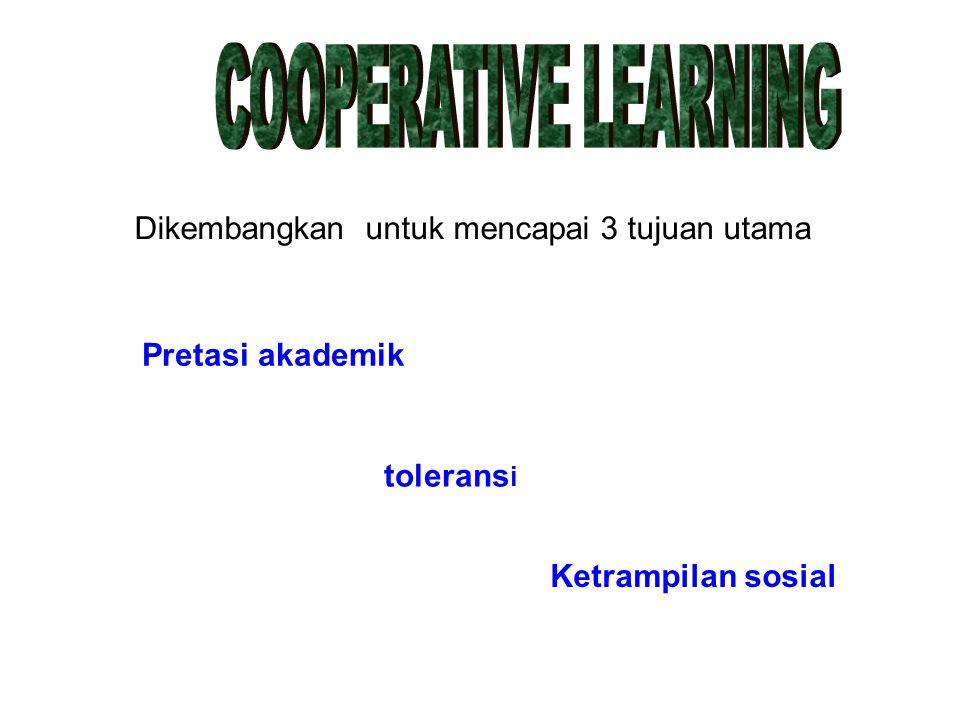 Dikembangkan untuk mencapai 3 tujuan utama Pretasi akademik tolerans i Ketrampilan sosial