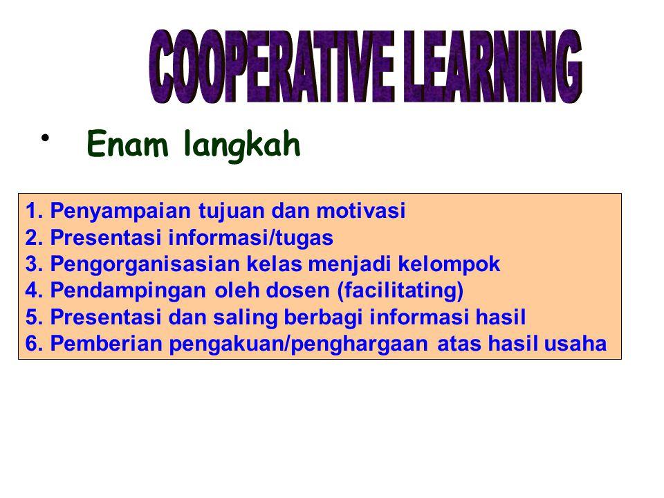 Enam langkah 1.Penyampaian tujuan dan motivasi 2.Presentasi informasi/tugas 3.Pengorganisasian kelas menjadi kelompok 4.Pendampingan oleh dosen (facil