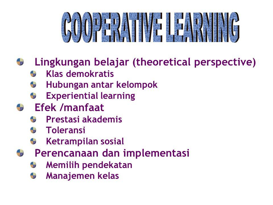 Lingkungan belajar (theoretical perspective) Klas demokratis Hubungan antar kelompok Experiential learning Efek /manfaat Prestasi akademis Toleransi K