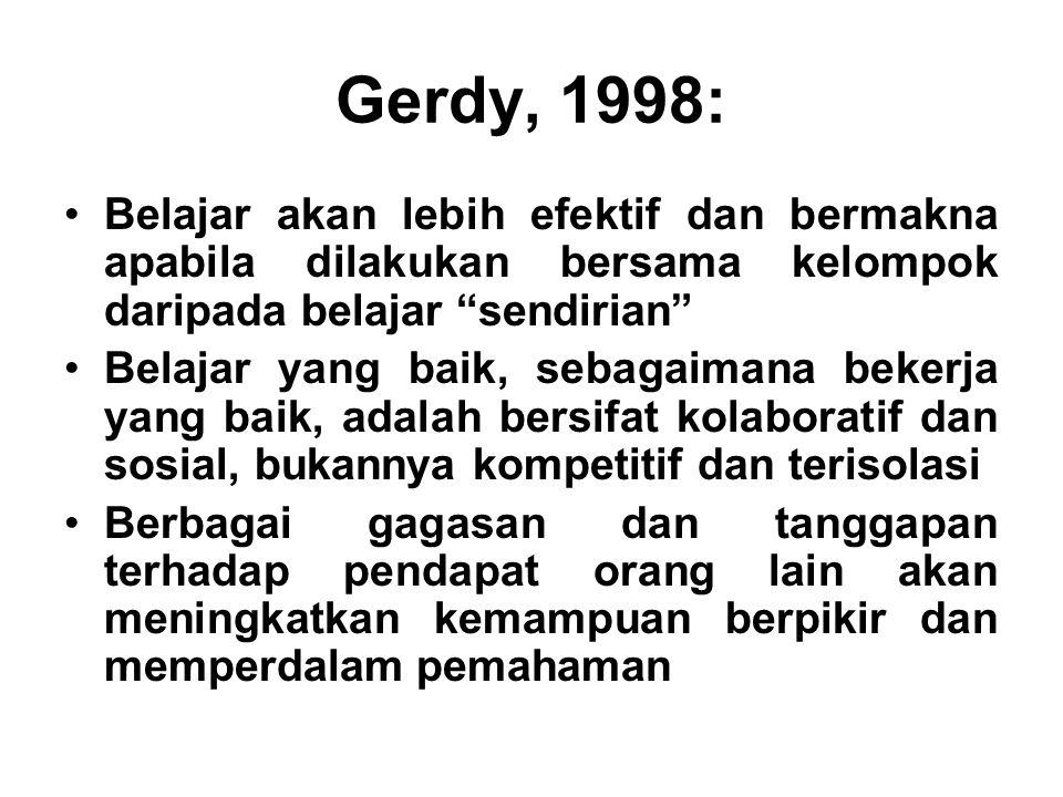 "Gerdy, 1998: Belajar akan lebih efektif dan bermakna apabila dilakukan bersama kelompok daripada belajar ""sendirian"" Belajar yang baik, sebagaimana be"