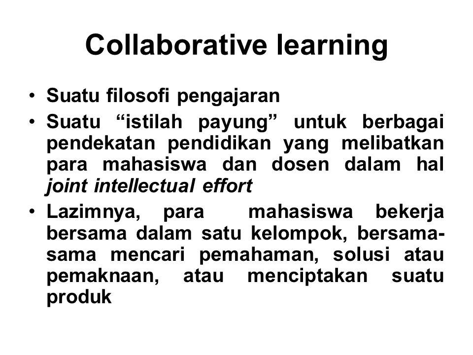"Collaborative learning Suatu filosofi pengajaran Suatu ""istilah payung"" untuk berbagai pendekatan pendidikan yang melibatkan para mahasiswa dan dosen"