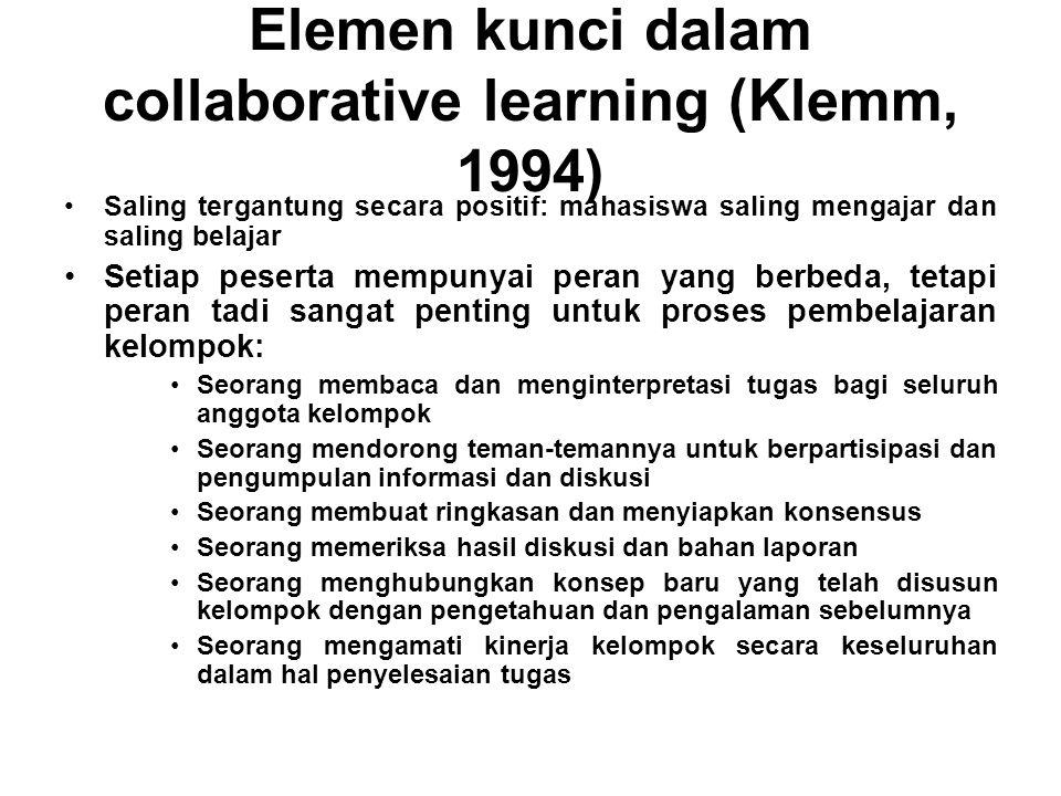 Elemen kunci dalam collaborative learning (Klemm, 1994) Saling tergantung secara positif: mahasiswa saling mengajar dan saling belajar Setiap peserta