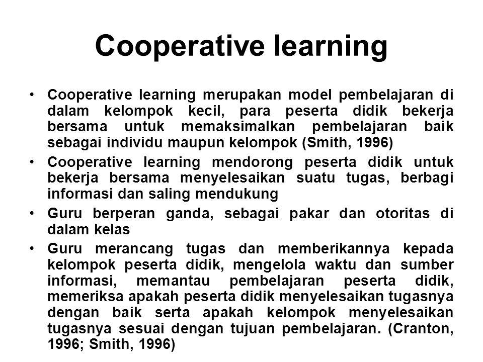 Cooperative learning Cooperative learning merupakan model pembelajaran di dalam kelompok kecil, para peserta didik bekerja bersama untuk memaksimalkan