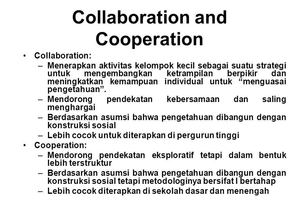 Collaboration and Cooperation Collaboration: –Menerapkan aktivitas kelompok kecil sebagai suatu strategi untuk mengembangkan ketrampilan berpikir dan