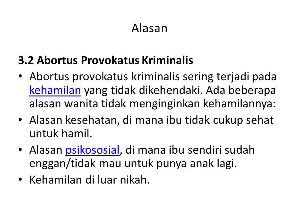 Alasan 3.2 Abortus Provokatus Kriminalis Abortus provokatus kriminalis sering terjadi pada kehamilan yang tidak dikehendaki. Ada beberapa alasan wanit
