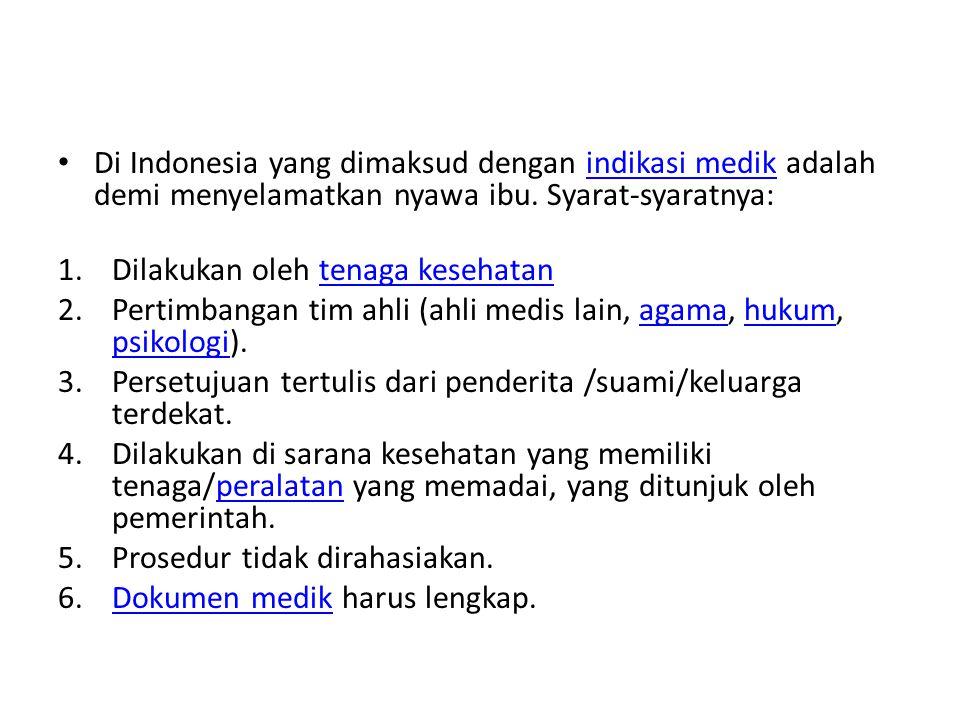 Di Indonesia yang dimaksud dengan indikasi medik adalah demi menyelamatkan nyawa ibu. Syarat-syaratnya:indikasi medik 1.Dilakukan oleh tenaga kesehata