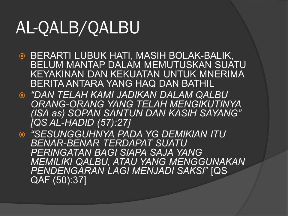 AL-QALB/QALBU  BERARTI LUBUK HATI, MASIH BOLAK-BALIK, BELUM MANTAP DALAM MEMUTUSKAN SUATU KEYAKINAN DAN KEKUATAN UNTUK MNERIMA BERITA ANTARA YANG HAQ