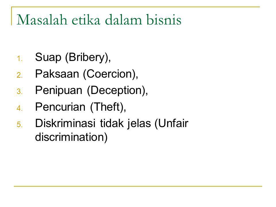 Masalah etika dalam bisnis 1.Suap (Bribery), 2. Paksaan (Coercion), 3.
